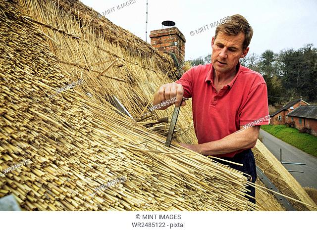 Man thatching a roof, inserting a metal peg into the straw