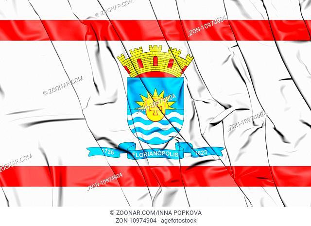 3D Flag of Florianopolis, Brazil. 3D Illustration