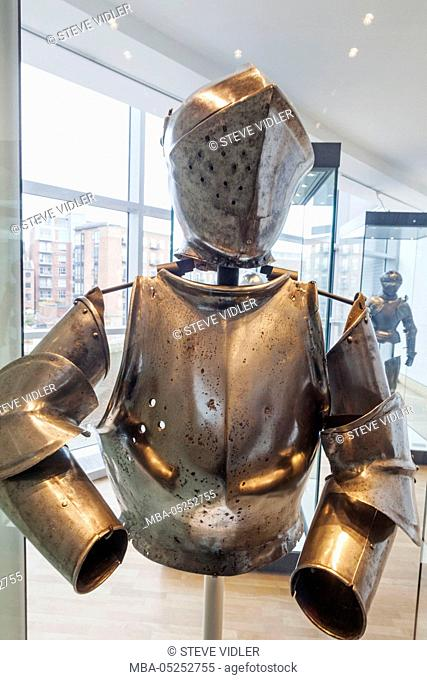 England, Yorkshire, Leeds, The Royal Armouries Museum, Display of Medieval Armour