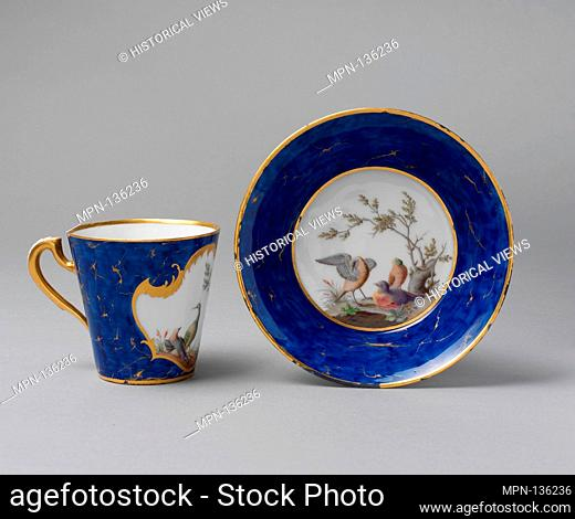 Cup and saucer (gobelet à lait et soucoupe). Factory: Vincennes Manufactory (French, ca. 1740-1756); Date: ca. 1752; Culture: French
