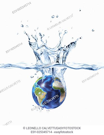 Planet Earth, falling into clear water, forming a crown splash