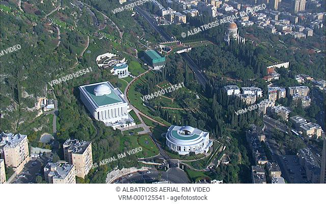 Aerial Bahai gardens and Temple on the slopes of mount Carmel; Israel. Beautifully landscapes gardens exemplify peace and tranquillity