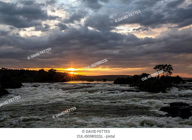 River Nile at dawn flowing with strong water current, Uganda