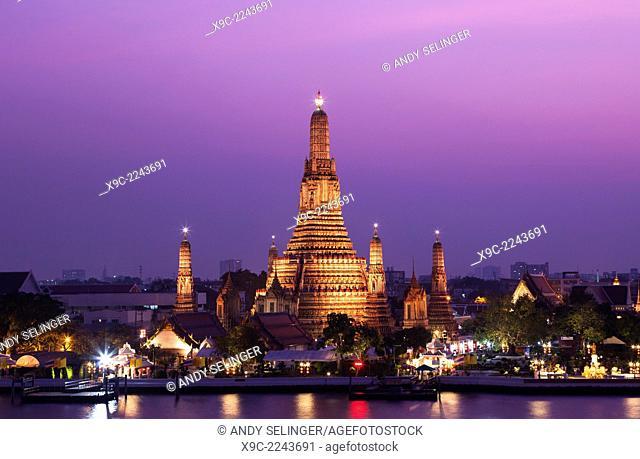 Wat Arun and Chao Phraya River, Bangkok, Thailand