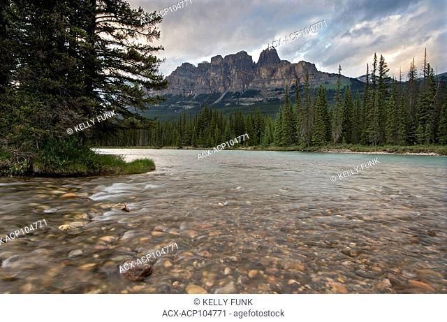 Castle Mountain and the Bow River in Banff National Park, Rocky Mountains, Alberta, Canada