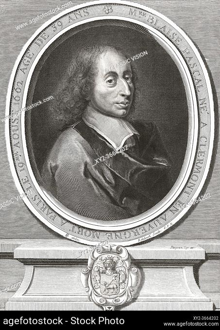 Blaise Pascal, 1623 - 1662. French mathematician, physicist, inventor, writer and Catholic theologian. After a print by Flemish engraver and publisher Gerard...