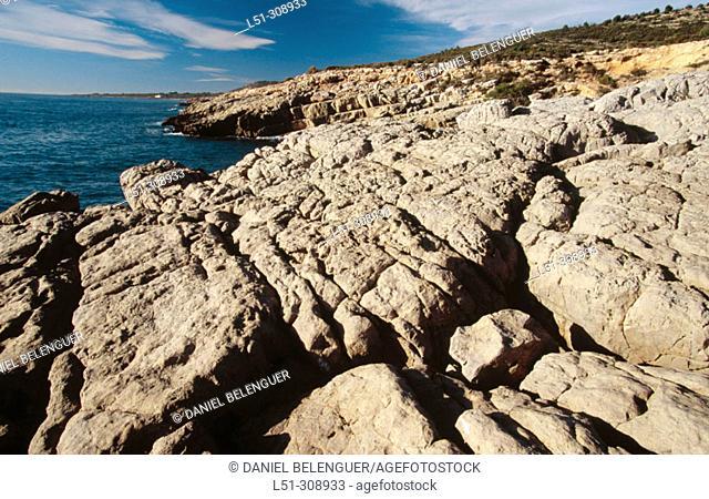 Rocky coast in Sierra de Irta Natural Park. Castellon province, Spain