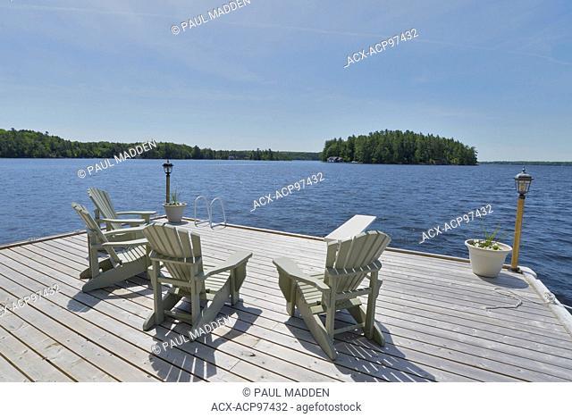 Dock and Muskoka Chairs on Lake Muskoka, Ontario