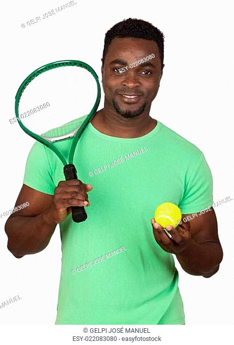 Attractive african man with a tennis racket