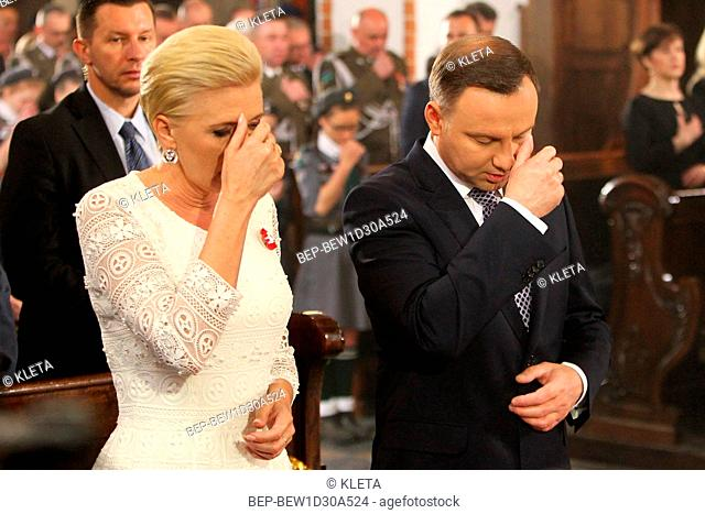 May 3rd, 2018. Warsaw, Poland. Presidential Couple during holy mass for the intention of Poland. Pictured: President of Poland Andrzej Duda and the First Lady...