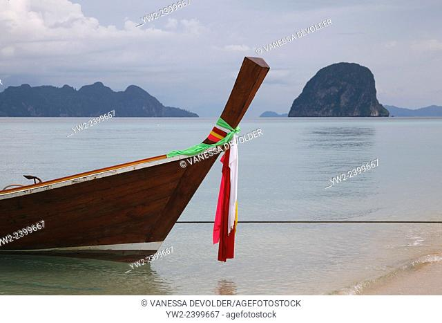 Longtail boat at Ko Ngai, a tropical island in the Andaman sea around Thailand