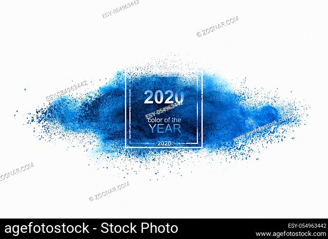 Powder classic blue splash in the color of the year 2020 on a white background, copy space. Trend color of the year 2020