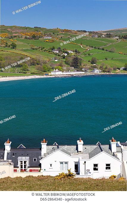 UK, Northern Ireland, County Antrim, Cushendun, elevated view of the famous Cornish-style cottages