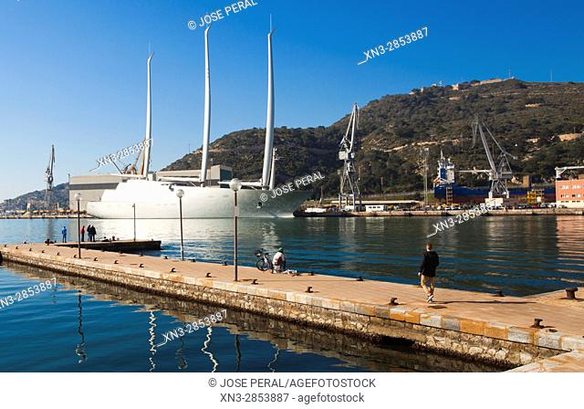 Sailing Yacht A on background, Harbour, Promenade, Cartagena City, Murcia Region, Spain