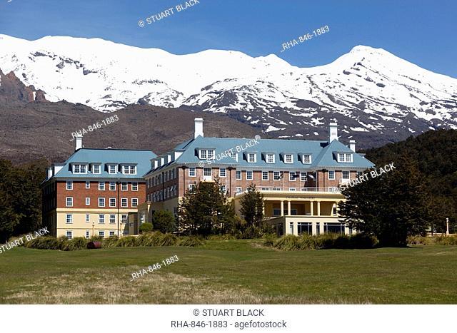 Chateau Tongariro hotel and Mount Ruapehu, Tongariro National Park, UNESCO World Heritage Site, North Island, New Zealand, Pacific