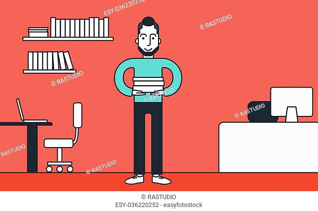 A hipster man with the beard standing with pile of folders in office. Vector line design illustration. Horizontal layout