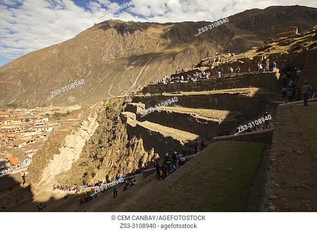 Tourists at Ollantaytambo Archaeological Site, Cusco Region, Urubamba Valley, Peru, South America