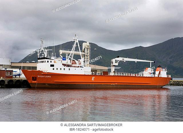 Ship in the harbour of the island of Andoya, Vesteralen, Norway, Scandinavia, Europe