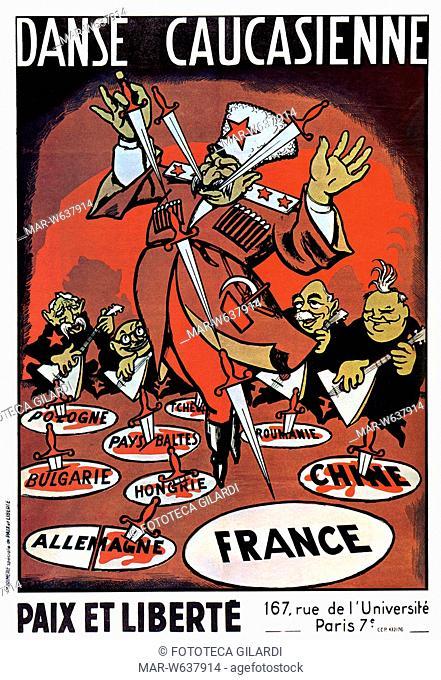 FRANCIA Caricatura del dittatore sovietico mentre danza accompagnato dal suono della balalaika degli esponenti comunisti francesi