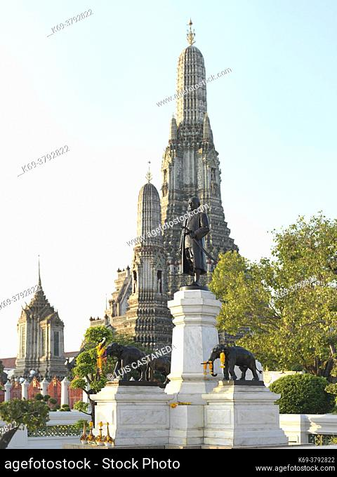 "King Rama II Monument at Wat Arun. Bangkok. Thailand. Rama II (24 February 1767 â. "" 21 July 1824), was the second monarch of Siam under the House of Chakri"