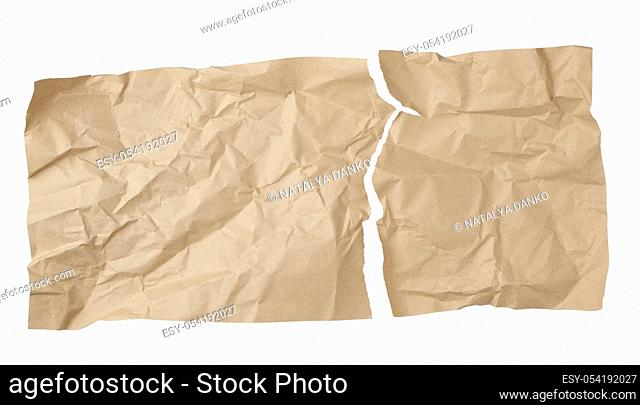 clean torn brown sheet of craft paper solated on a white background, template for designer