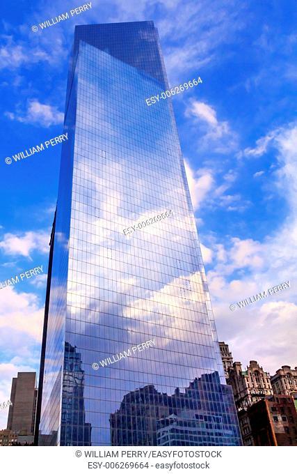 New World Trade Center Glass Building Skyscraper Skyline Blue Clouds Reflection New York City NY