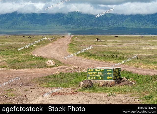 Tanzania, Northern Tanzania, Serengeti National Park, Ngorongoro Crater, Tarangire, Arusha and Lake Manyara, sign in Ngorongoro Crater