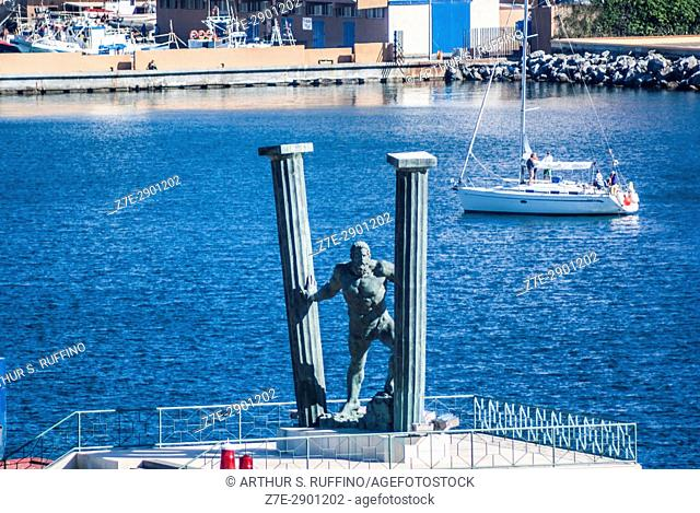 Pillars of Hercules statue, Ceuta, autonomous city, Spain, North Africa, Moroccan coastline