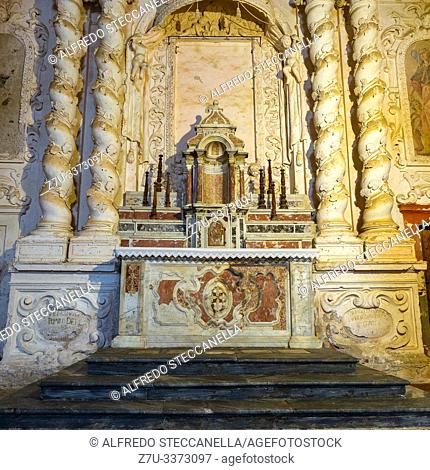 Ancient altar of a Sicilian baroque church