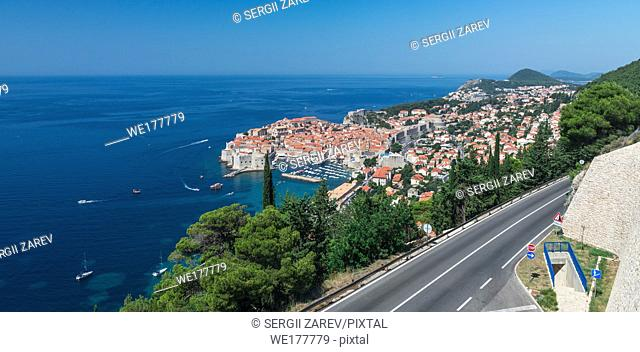 Panoramic view of the Old Town and Old Port of Dubrovnik, Croatia, in a sunny summer day