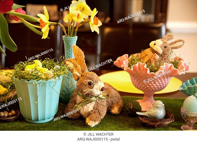 Easter Decorations Of Bunnies And Flowers