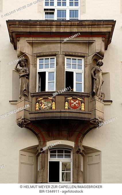 Decorative old bay window, around 1900, with figures, Maximilianstrasse 10, Regensburg, Upper Palatinate, Bavaria, Germany, Europe