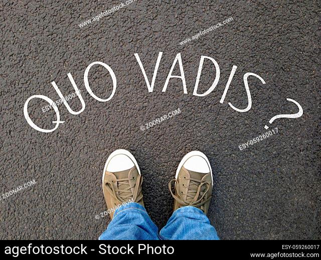 quo vadis is a latin phrase meaning where are you going - foot selfie on street with question written on asphalt - confusion destiny uncertainty concept