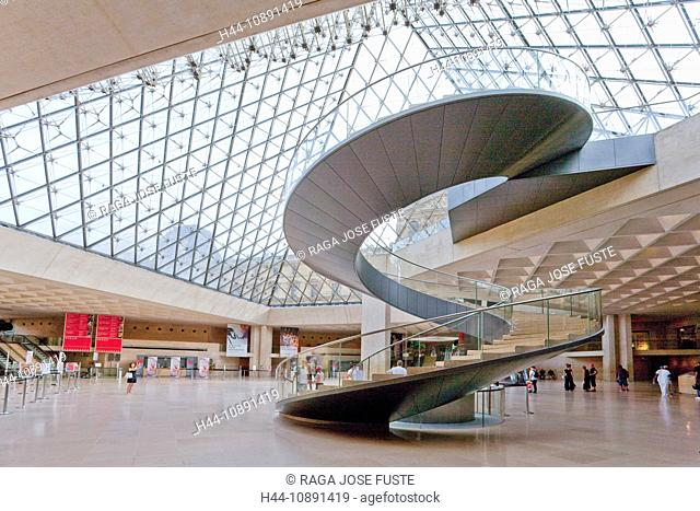 France, Europe, Paris, Louvre, museum, pyramid, inside, architecture, glass