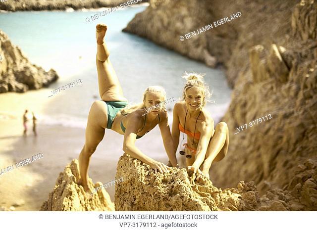 two women at Seitan Limania Beach, Crete, Greece