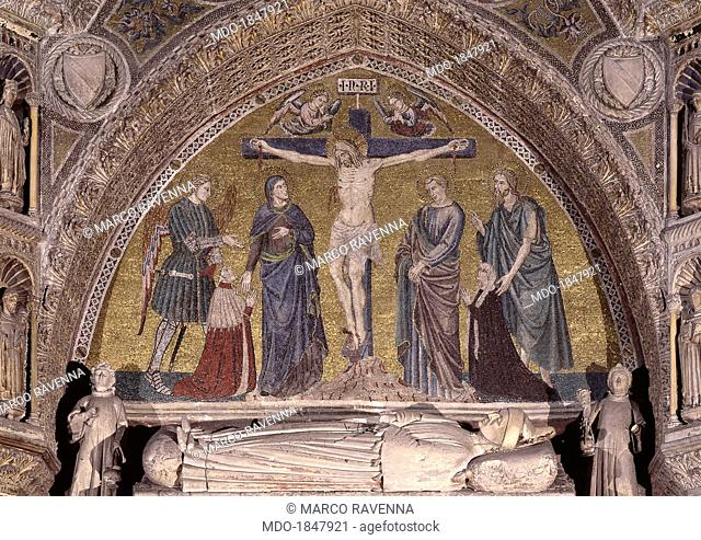 Crucifixion with the Doge Michele Morosini and his Wife, by Unknwon Mosaic Artist, 1382 - 1385, 14th Century, mosaic. Italy, Veneto, VEnice