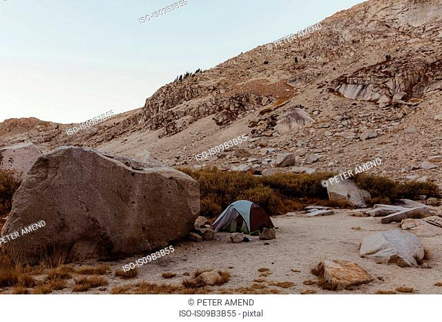 Dome tent in rocky landscape, Mineral King, Sequoia National Park, California, USA