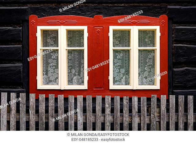 Window of a traditional log cabin, Liptov region, Slovakia