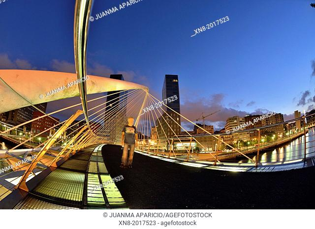 Santiago Calatrava bridge and Isozaki Towers at sunset, Bilbao, Basque Country, Biscay, Spain, Europe