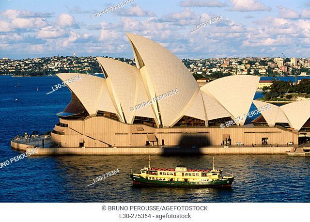 Sydney Opera House and ferry from above. Sydney. Austalia
