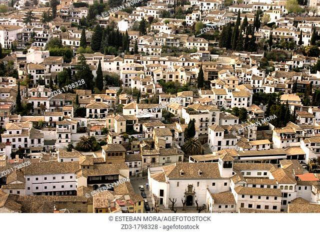 Albaicin district as seen from the Alhambra, Granada, Andalusia, Spain