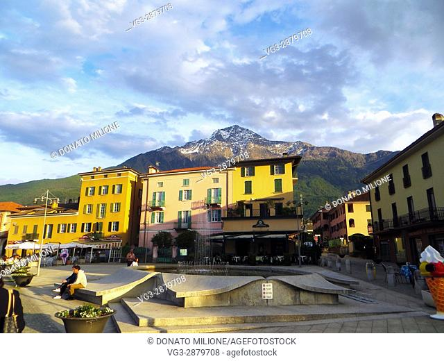 Colico, Giuseppe Garibaldi Square, Province of Lecco, region Lombardy, eastern shore of Lake of Como, Italy, panoramic view with Monte Legnone