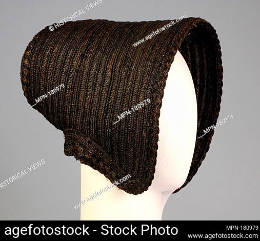 Mourning poke bonnet. Date: ca. 1845; Culture: American; Medium: Straw, silk; Credit Line: Brooklyn Museum Costume Collection at the museum