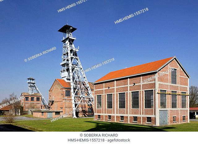 France, Nord, Wallers, mine site of the pit of Arenberg, listed as World Heritage by UNESCO, headframes of the pits 2 and 1