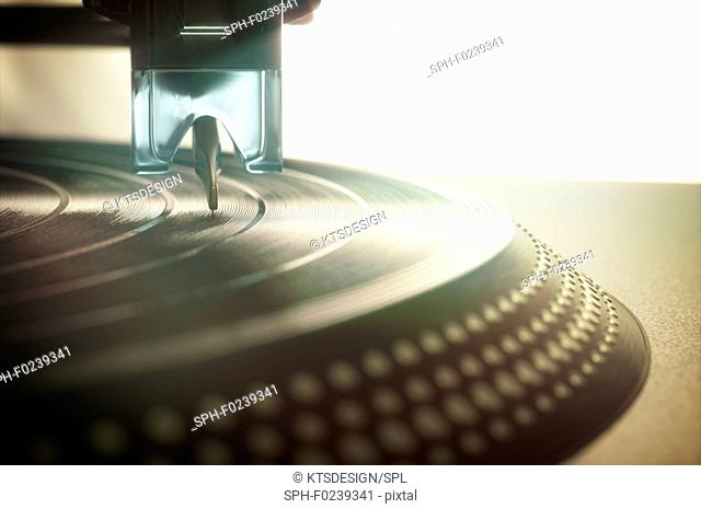 Vinyl record being played, illustration