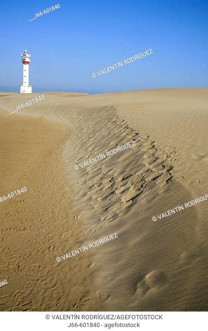 Lighthouse at Punta del Fangar and dunes, Ebro River delta Natural Park. Tarragona province, Catalonia, Spain
