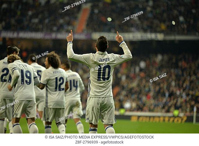 James Rodriguez celebrates after scoring first goal. Match day of Copa del Rey 2016 - 2017 season between Real Madrid and Sevilla C
