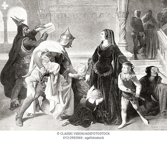 The capture, by Charles of Anjou, of King Manfred's wife Helena Angelina Doukaina and four children Beatrice, Frederick, Henry and Azzolino