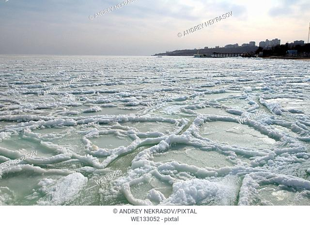 Frozen Black Sea, a rare phenomenon, occured in 1977 for the last time, Odessa, Ukraine, Eastern Europe