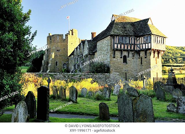 13C Stokesay Castle, Craven Arms, Shropshire England from Church of St. John. Timbered North Tower, banqueting hall, South Tower